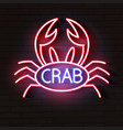 crab sign with neon light glowing vector image
