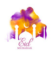 creative eid greeting with watercolor effect vector image vector image