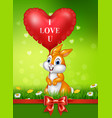cute bunny holding red heart balloons on green gra vector image vector image