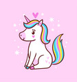 cute little unicorn is sitting on a pink vector image vector image