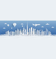 dubai paper cut uae skyline city panorama vector image