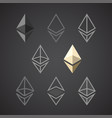 ethereum signs isolated on dark background vector image