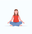fat obese woman sitting lotus pose girl doing yoga vector image vector image