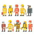 flat design rescue worker set vector image