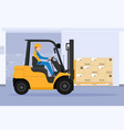 forklift with man driving tunnel cooling chamber vector image vector image