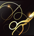 gold scissors and needle with thread vector image vector image