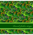 Green orange peacock feathers pattern background vector image vector image