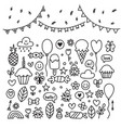 hand drawn design elements party set of vector image