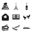 honeymoon trip icons set simple style vector image