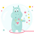 image of a funny hippo with soap bubbles vector image