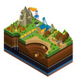 isometric oil and mining industry concept vector image vector image
