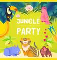 jungle party cute exotic animals design children vector image vector image