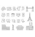 language learning and online education icon set vector image vector image