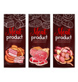 meat sausage ham bacon chalkboard banner design vector image vector image