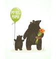 Mother Bear and her Baby Childish Animal Cartoon vector image vector image