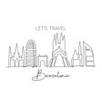 one continuous line drawing barcelona city vector image vector image