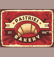 pastries vintage bakery shop sign vector image