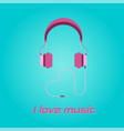 pink headphone love shape cable icon on blue back vector image