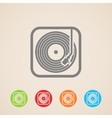 record player with vinyl record icons vector image