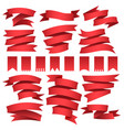 red flags and ribbons set vector image vector image