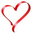 red ribbon in heart shape vector image vector image