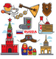 russia traditional things colorful poster vector image vector image