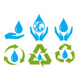save water sign symbol set vector image vector image