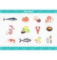 Seafood Set Design Flat Fish and Crab vector image vector image