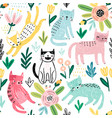 seamless pattern with cute kittens childish vector image vector image
