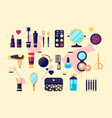 set cosmetics beauty and makeup icons vector image vector image