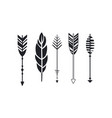 set of hipster arrows and feather graphic vector image vector image