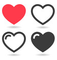 set red and black heart icons with shadows vector image vector image