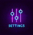 settings neon label vector image vector image