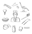 Sketch icons with dentistry and dental symbols vector image vector image