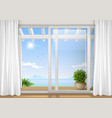 sliding window of the hotel vector image vector image