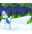 Snowman with a broom and bucket vector image