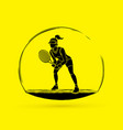 tennis player action woman play tennis vector image