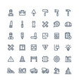 thin line icons set with construction vector image