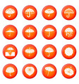 umbrella icons set red vector image