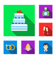 wedding and attributes flat icons in set vector image vector image
