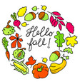 autumn wreath with bright leaves fall season vector image