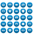shield badge icons set blue simple style vector image