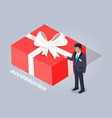 accessories in big red box with bow vector image vector image