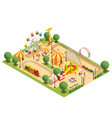 amusement park isometric composition vector image vector image