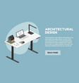 architect isometric desktop with tools including vector image