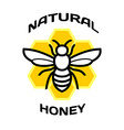 Bee icon Natural honey package logo vector image