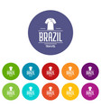 brazil team icons set color vector image vector image