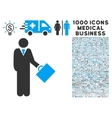 Businessman Icon with 1000 Medical Business vector image vector image