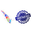 christmas sale collage of mosaic map of sumatra vector image vector image