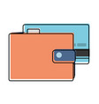 color wallet to save credit card currency vector image